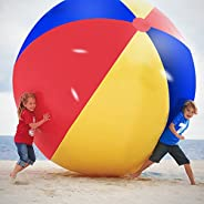 Novelty Place Giant Inflatable Beach Ball, Pool Toy for Kids & Adults - Jumbo Size 5 Feet (60 Inc