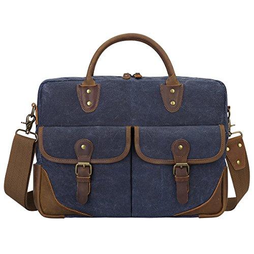 - S-ZONE Vintage Canvas Leather Messenger Bag Briefcase 15.6-inch Laptop Tote Shoulder Bag (Blue)
