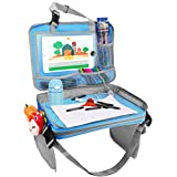 Zooawa Kids Car Seat Travel Tray, Detachable 4 in 1 Toy Storage Organizers iPad Kindle & Other Tablets Holder for Toddlers - Light Blue