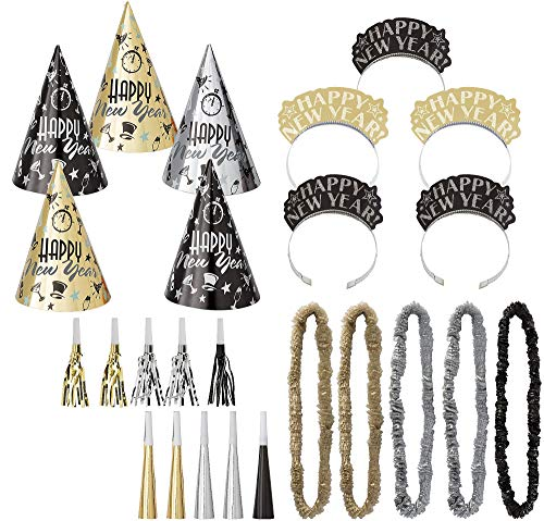 Amscan Midnight Party New Years Party Kit for 10, Includes Cone Hats and Glitter Tiaras