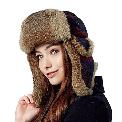Kenmont Winter Women Lady Warm Rabbit Fur Earflap Aviator Bomber Hat Ski Cap