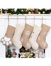 GEX New Burlap Christmas Stockings Linen Large Original Stockings