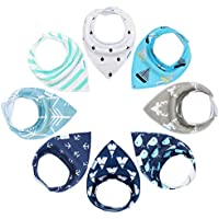 8 Pack YOOFOSS Baby Bandana Drool Bibs for Teething and Drooling