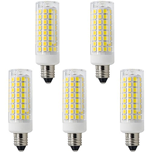 Goldwin 5 pcs Pack Dimmable 6.5W E11 LED Light Bulb,Mini Candelabra Base Halogen Replacement,Equivalent to 65W,Daylight White 6000K,110V to 130V for Chandelier,Crystal lamp, Ceiling Fan Light