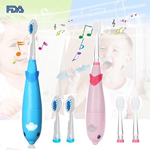 2pcs Musical Kids Sonic Electric Toothbrush Battery Powered Baby Electric Toothbrush Smart Child Electric Toothbrush LED Light Toddler Toothbrush 621 Vibrate Toothbrush for 2-10 Kid (Blue + - Kids Musical Toothbrush