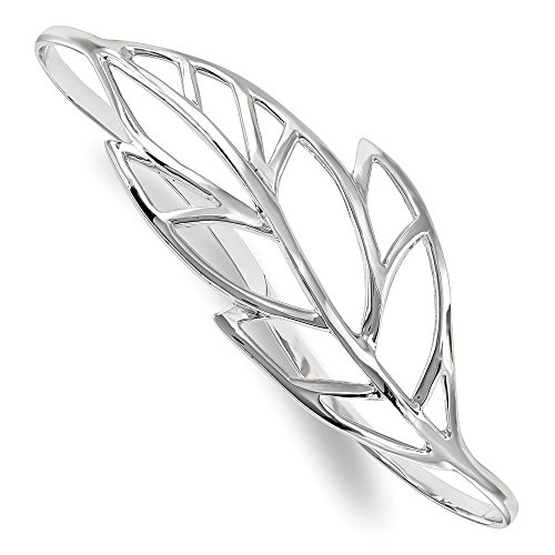 (925 Sterling Silver Leaf Palm Bangle Bracelet Cuff Expandable Stackable Slip On Fine Jewelry Gifts For Women For Her)