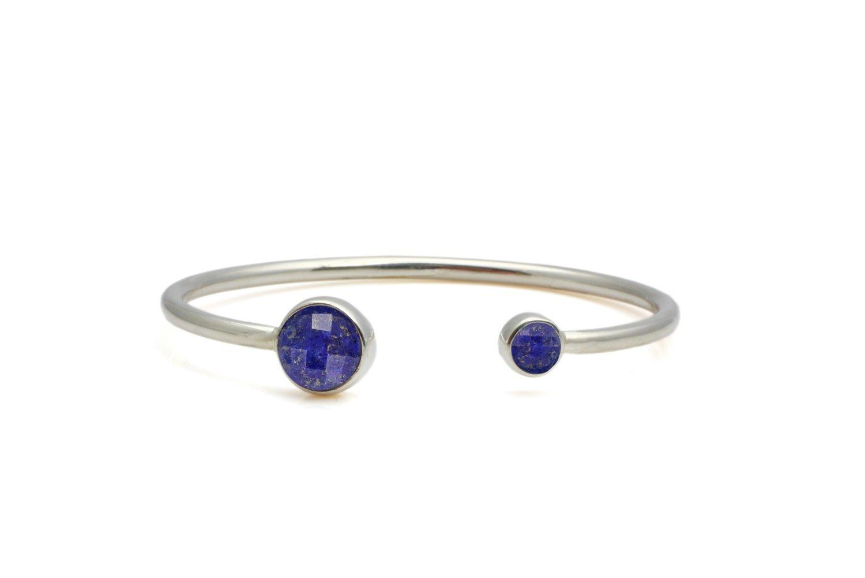 silver lapis bracelet,bezel bracelet,round open bracelet,wire bracelet,sterling cuff bracelet,adjustable bracelet