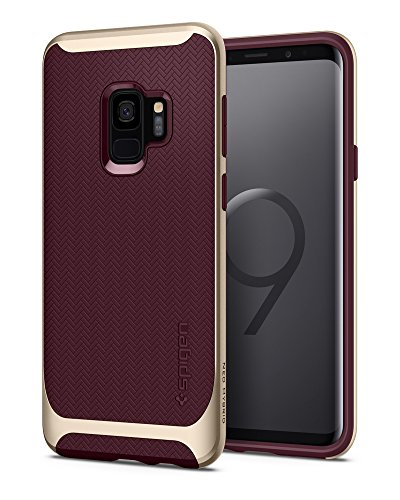 Spigen Neo Hybrid Galaxy S9 Case with Flexible Herringbone Pattern Protection and Reinforced Hard Bumper Frame for Samsung Galaxy S9 (2018) - Burgundy