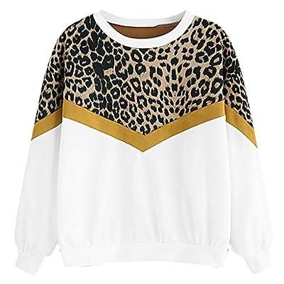 YANG-YI Women Leopard Print Sweatshirt Casual Long Sleeve Top Fashion O-Neck Pullover Blouse at  Women's Clothing store