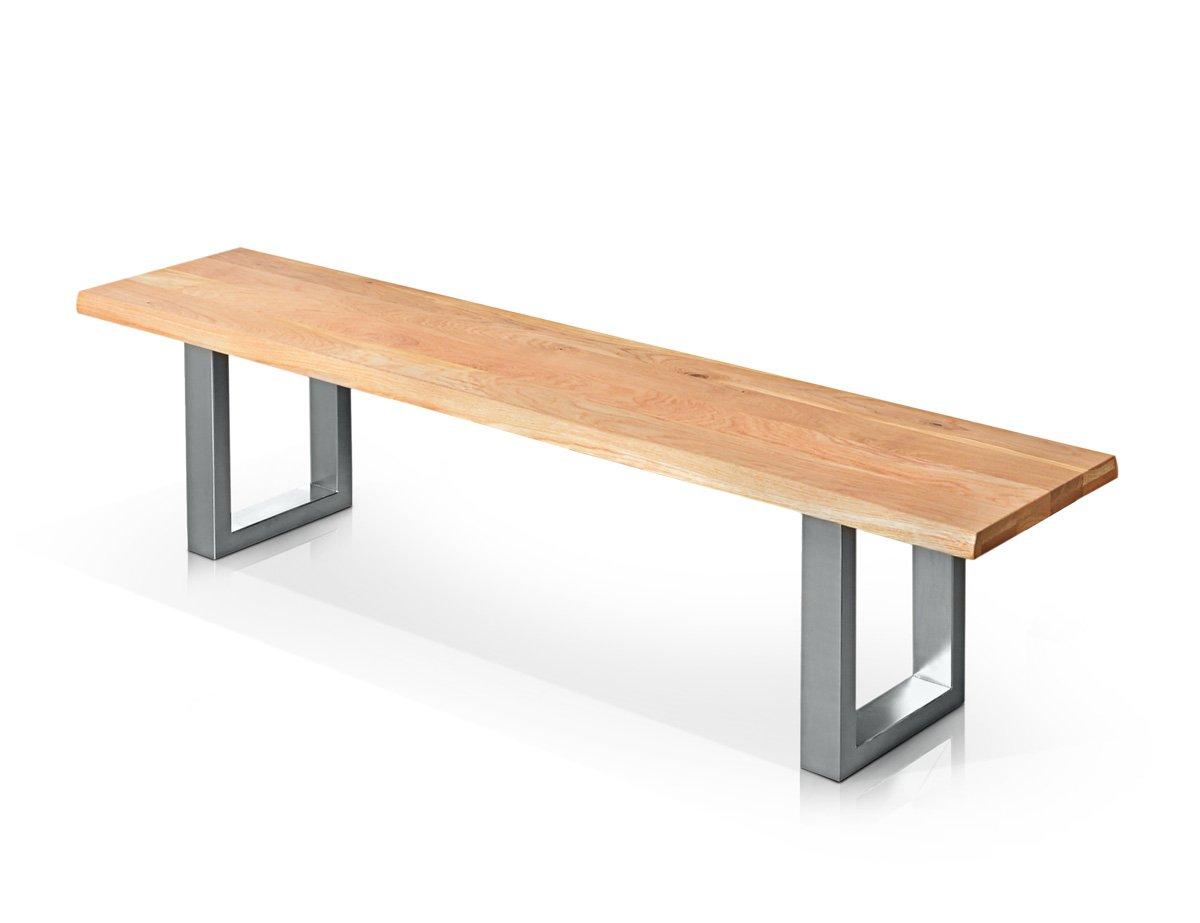TOBAGO Sitzbank Wildeiche / Fuß Edelstahlfarbig lackiert, 180 cm