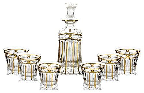 Fine Crystal Clear Glass Squared Liquor Decanter and Whisky Glasses 7 Piece Gift Set