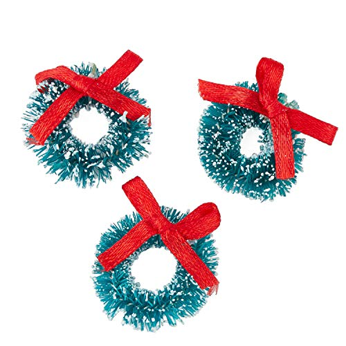 Factory Direct Craft 1 inch Miniature Frosted Sisal Christmas Wreaths with Red Bows 18 Total Mini - Ornaments Mini Wreath