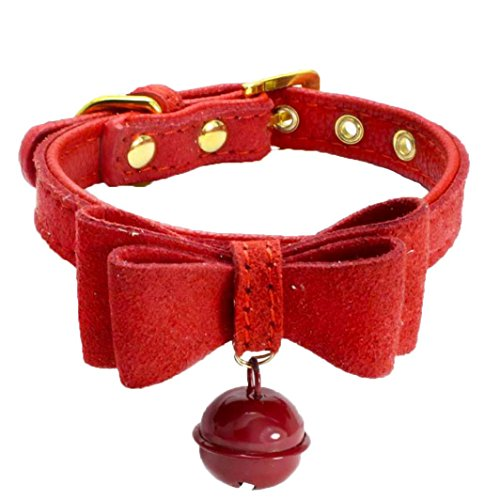 Livoty Genuine Leather Pet Dog Collar Durable and Comfortable Adjustable, Pet Dog Puppy Cat Collar Necklace Jewelry (XXS, Red) ()