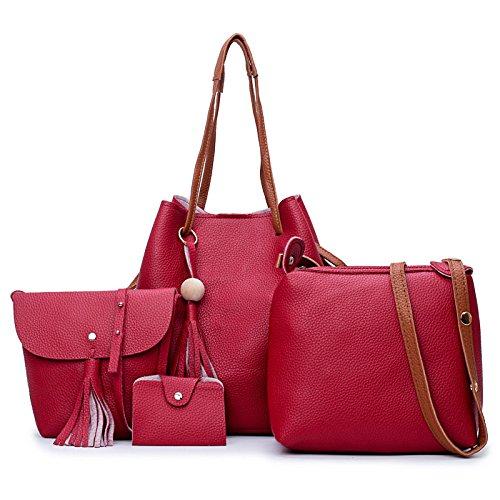AJLBT Bolsos De Mujer De Cuatro Piezas Diagonal Bandolera Simple Bolsa De Cubo De Moda Casual Red