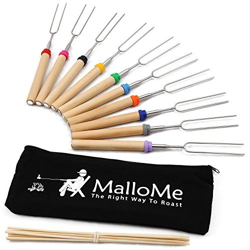 MalloMe Marshmallow Roasting Sticks Set of 10 Telescoping Rotating Smores Skewers & Hot Dog Fork 32 Inch Kids Camping Campfire Fire Pit Accessories | Free Pouch, 10 Bamboo & Marshmallow - Roasting Sticks Marshmallow
