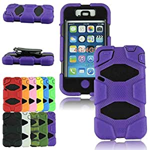 Voberry Newest Hot Sale Shockproof Heavy Duty Hard Case Cover with Belt Clip For iPhone 4 4S (purple)