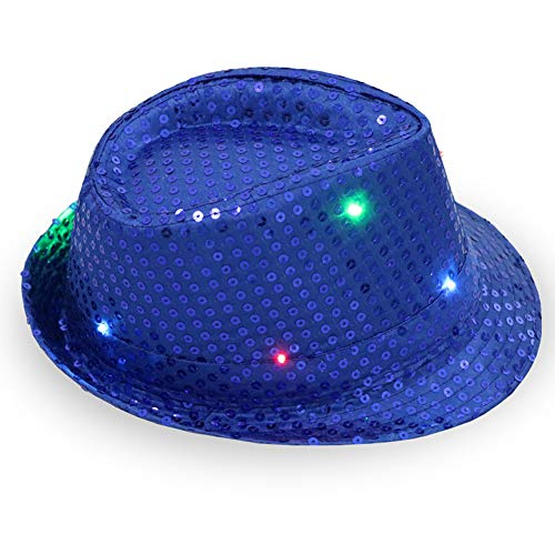 LVYIMAO New Party Sequin Fedora Hats, Light Up Hat for Rave and Costume Parties Unisex Bright LED Light Up Blinking Flashing Sequin Jazz Cap Party Hat Suitable for Xmas Party Concert Stage Show -