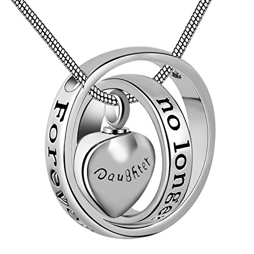 Eternally Loved No Longer by My Side,Forever in My Heart Carved Locket Cremation Urn Necklace for mom & dad (Daughter)