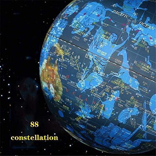 Geïlumineerde wereldbol met stand-educatieve kantoorbol ingebouwde LED-licht met wereldkaart en sterrenbeeld weergave, Desktop Earth Globe World Globe