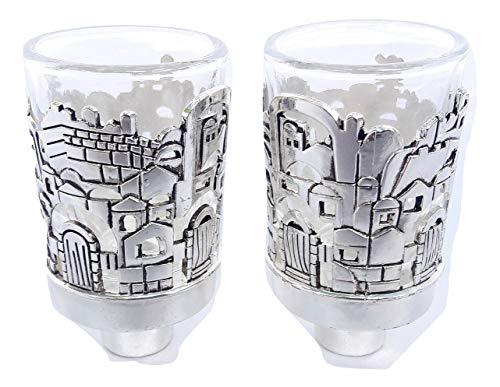holyland souvenir New Israel Jerusalem Candle Holders Inserts Judaica Nickel&Glass Shabbat