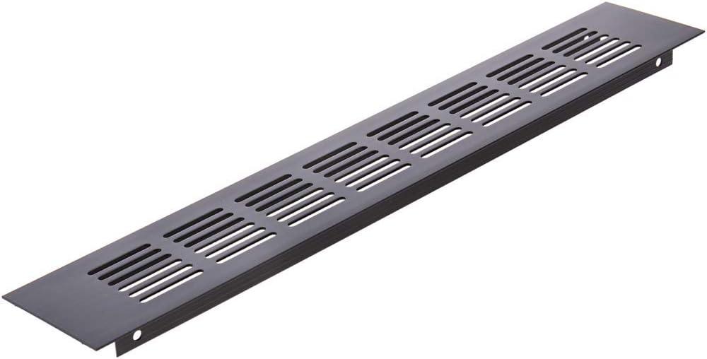 PrimeMatik - Rejilla de ventilación para zócalo Aluminio 350x60mm en Color Negro