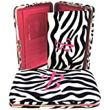 "Hot Pink Initial "" B "" Zebra Print Soft Velvet Stripes Thick 1″ Flat Wallet, Bags Central"