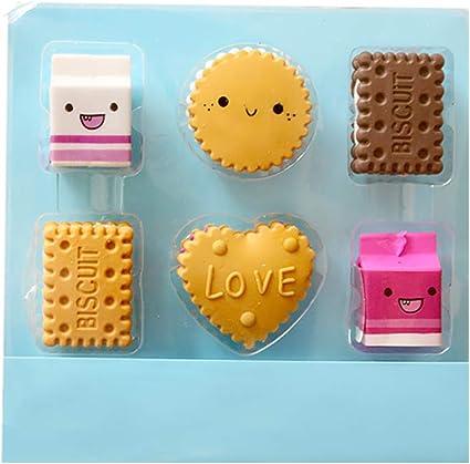 Fablcrew – Lote de 6 gomas de borrar para niños en forma de galletas Kawaii Papelería, escuela, juguete creativo: Amazon.es: Oficina y papelería