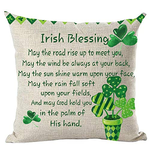 ramirar Happy St. Patrick's Day Green Potted Plant Clovers Heart Word Art Quote Irish Blessing Throw Pillow Cover Case Cushion Home Living Room Bed Sofa Car Cotton Linen Square 18 x 18 Inches