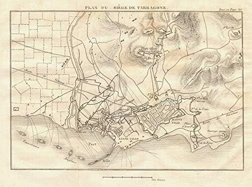 Plan del Sitio de Tarragona en 1811. Cataluña, España. Peninsula ...