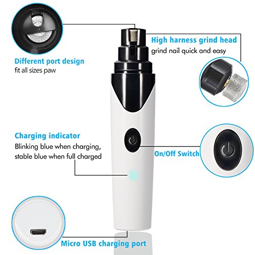 51U2%2BkVny1L - Ultra Quiet Pet Nail Grinder for Dogs Electric Rechargeable USB Charging Dog Nail Grinder Trimmer Clipper for Small Medium Large Dogs Cats and Other Animal Paws