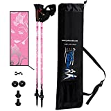 York Nordic Pink Walking Poles - Lightweight, Adjustable, and Collapsible - 2 poles w/rubber feet and travel bag