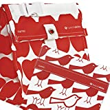 Lunchskins Reusable 2-Pack Lunch Tote and Quart Bag, Red Apple and Bird