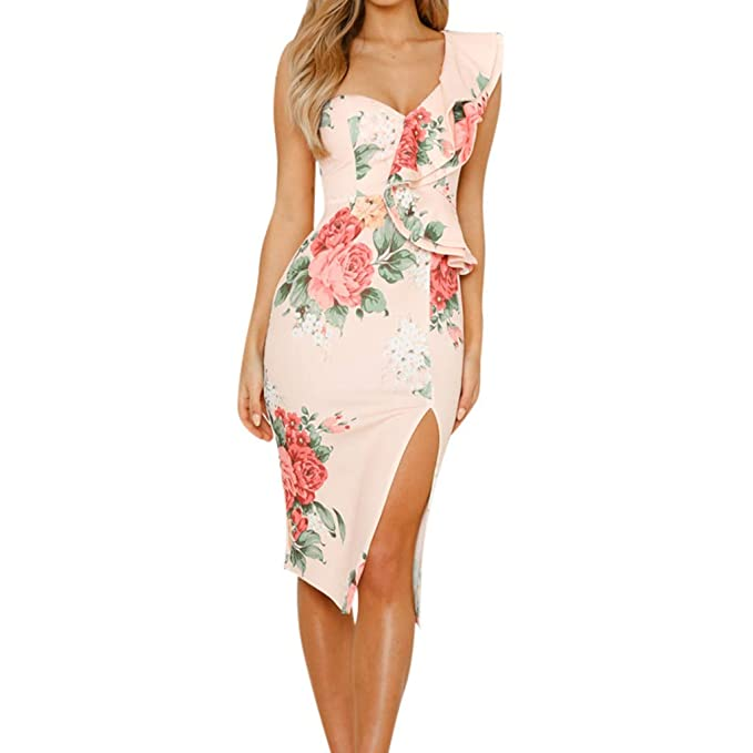 44b5e03737 Pitauce Women s V Neck Sexy Floral Beach Casual Dress Cocktail Dress Party  Evening Dress Tunic Dress