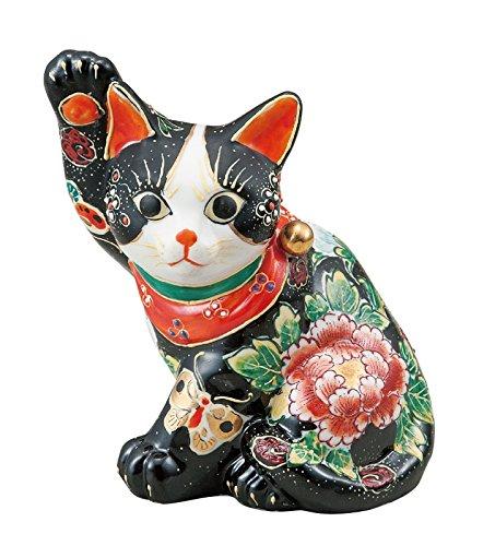 マルヨネ 九谷焼 縁起物 5.5号横座り招き猫黒盛花と蝶 K4-1711 B01818A9Z8