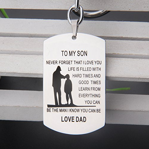 Father Son Pendant To My Son Never Forget That I love You Dog Tag Keychain Gift from Father (to my son keychain)