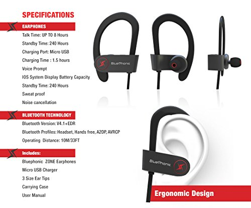 wireless sport bluetooth headphones hd beats sound quality sweat proof stable fit in ear. Black Bedroom Furniture Sets. Home Design Ideas