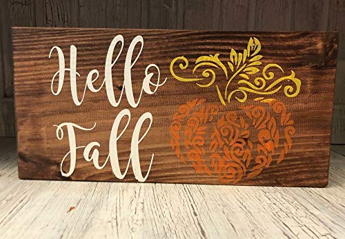 - Hello Fall Wood Farmhouse Sign Home Decor Primitive Country Living Pumpkin