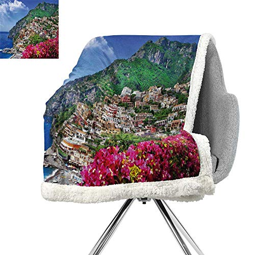 ScottDecor Italy Lightweight Fluffy Flannel and Sherpa Blanket,Scenic View of Positano Amalfi Naples Blooming Flowers Coastal Village Image,Pink Green Blue,Lightweight Thermal Blankets W59xL78.7 ()