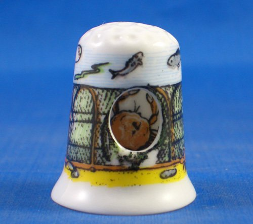 Porcelain China Thimble -- Peephole Style -- Crab in Pot