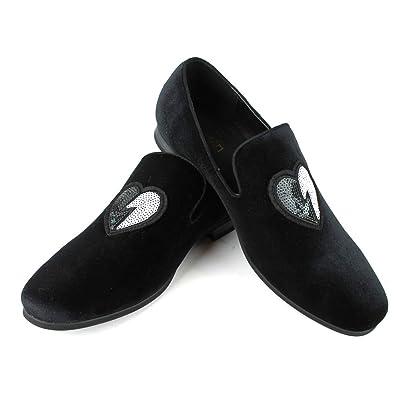 ÃZARMAN Men's Velvet Slip On Black & White Sequin Heart Embroidered Dress Loafers   Loafers & Slip-Ons