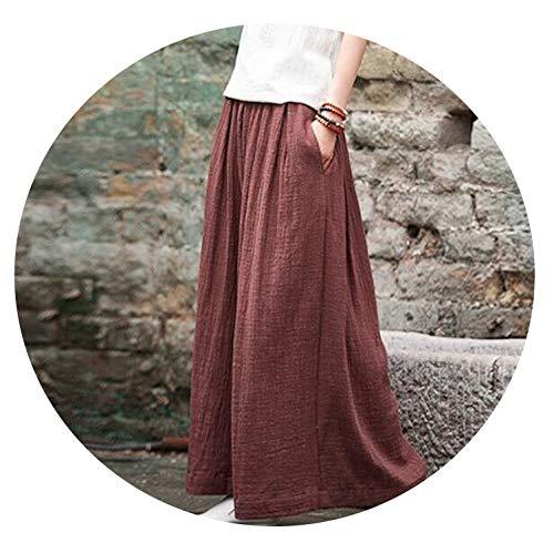 (Mango-light-pants 2019 Harem Pant Hemp Bloomer Plus Size M-5XL 6XL Loose Women Trouser Wide Leg Pant,jujube red,M)