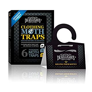 Dr. Killigan's Premium Clothing Moth Traps with Pheromones Prime   Non-Toxic Clothes Moth Trap with Lure for Closets & Carpet   Moth Treatment & Prevention   Case Making & Web Spinning (Black)
