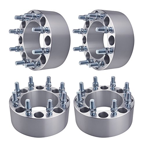 GDSMOTU 8 Lug Dodge Ford Wheel Spacers, 4pc 8x6.5 Wheel Spacers Adapters 3'' with 9/16'' Studs for Dodge Ram 2500 3500,Ford F250 F350 E250 E350 ECONOLINE(Fit 9/16'' Studs Vehicles Only) by GDSMOTOR