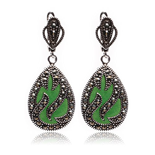 GEM-inside 16x26mm Drip Light Green Jade Beads Tibetan Silver Marcasite Earrings Jewelry