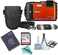Nikon COOLPIX AW130 16.0-Megapixel 5X Optical Waterproof Digital Camera + Extra Battery, 64GB Memory Card+ Accessory Zone cloth + Accessory Bundle (Orange) from Liquid Deals
