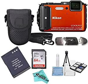 Nikon COOLPIX AW130 16.0-Megapixel 5X Optical Waterproof Digital Camera + Extra Battery, 64GB Memory Card+ Accessory Zone cloth + Accessory Bundle (Orange) from Liquid Deals