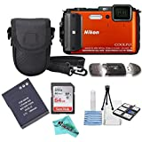 Nikon COOLPIX AW130 16.0-Megapixel 5X Optical Waterproof Digital Camera + Extra Battery, 64GB Memory Card+ Accessory Zone cloth + Accessory Bundle (Orange)