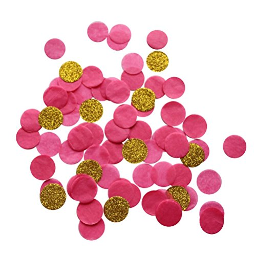 Mybbshower Hot Pink Gold Paper Confetti Toss Wedding Engagement Birthday Party Decor Table Scatter Pack of 4000 Pieces ()