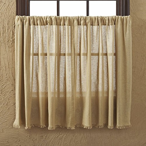 Tobacco Curtain Panel - VHC Brands 10769 Tobacco Cloth Khaki Tier Fringed Set of 2 L36xW36