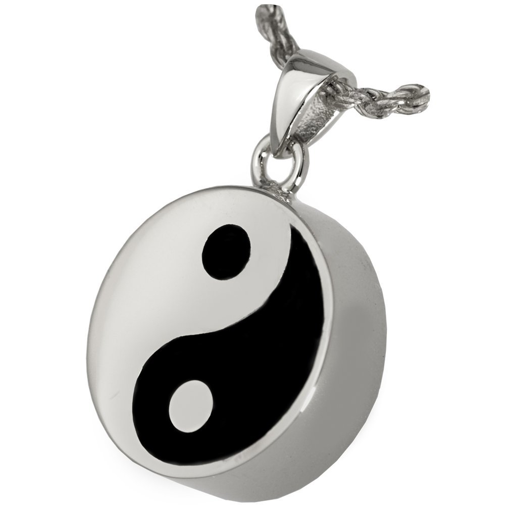 Memorial Gallery MG-3246s Yin Yang Double Compartment Sterling Silver Cremation Pet Jewelry